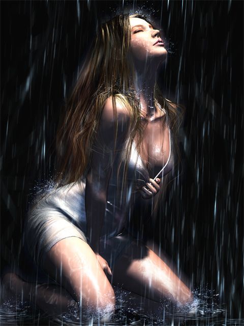 image femme sexy sous la pluie