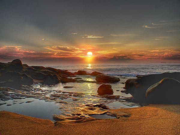 fond d'écran coucher de soleil sur la plage