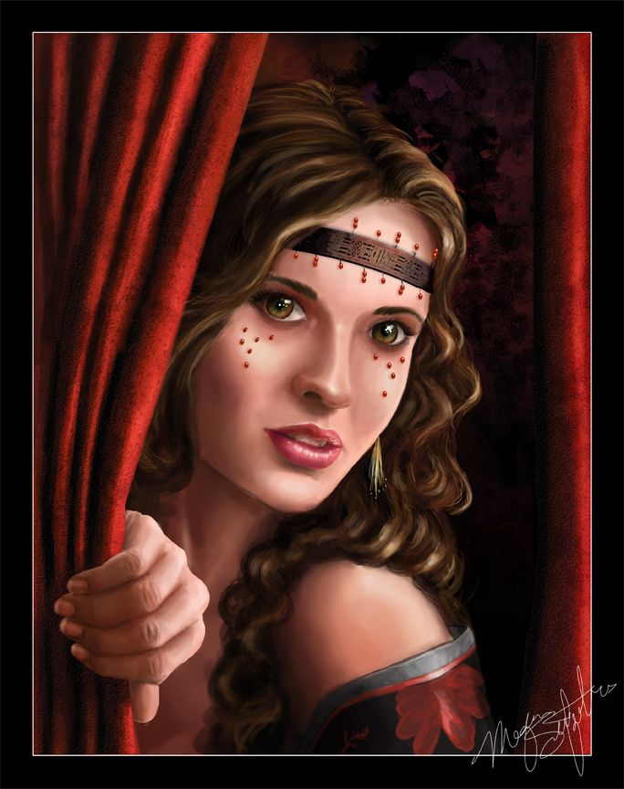 image femme au rideau rouge