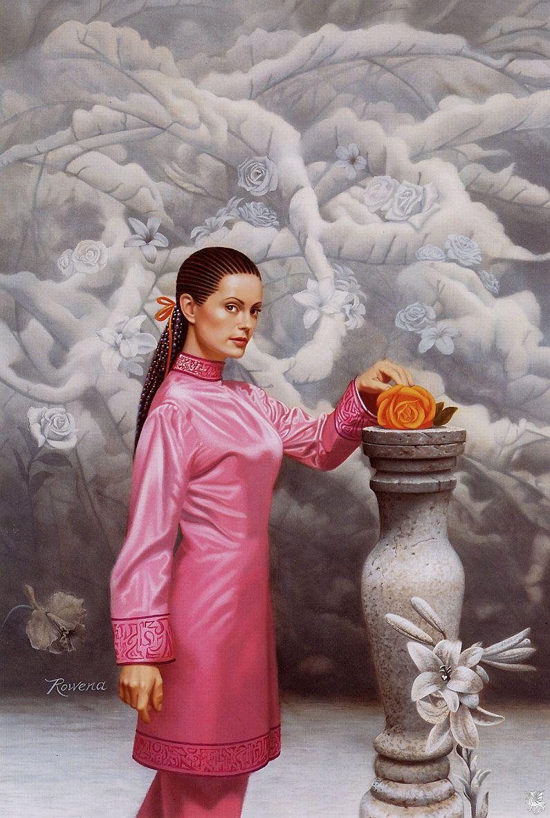 image femme a la rose
