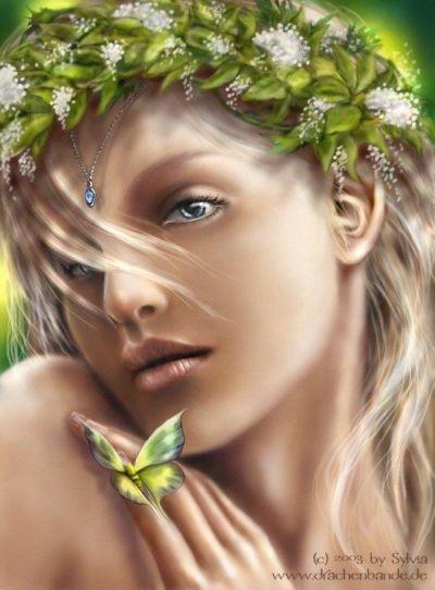 image femme au papillon