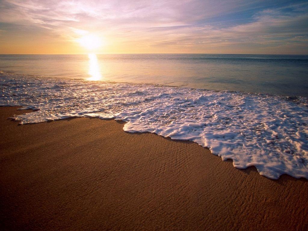 Fonds d ecran plage mer vagues etc - Fond ecran coucher de soleil sur la mer ...