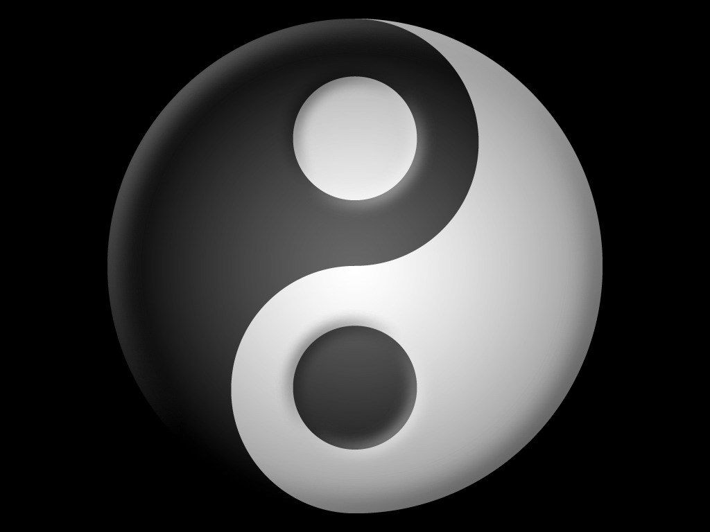 fond d'cran 3D ying-yang